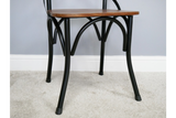 Set of Two French Style Bistro Sheesham Wood & Black Metal Dining Chairs