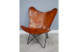 Cognac Brown Leather Retro Vintage Style Butterfly Armchair 92 x 82 x 75 cm