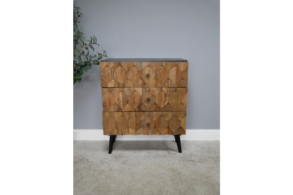 Iron & Mango Wood Wood Honeycomb Chest of Three Drawers 85 x 70 x 39 cm