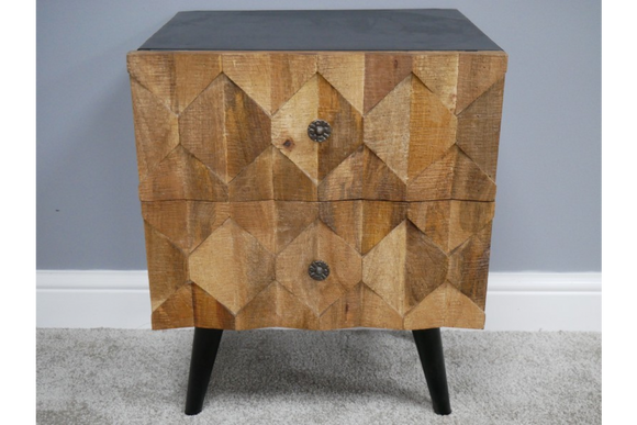 Iron & Mango Wood Wood Honeycomb Chest of Two Drawers 59 x 46 x 39 cm