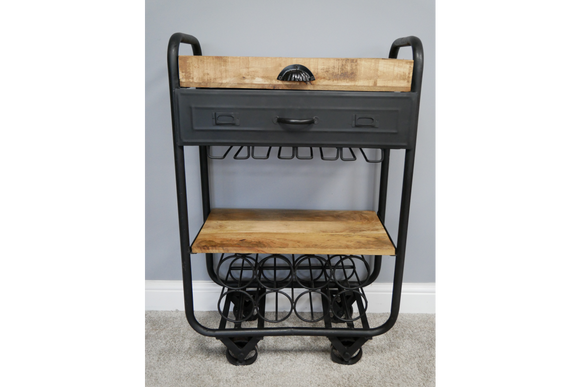Metal & Wood Drinks Bar Trolley 95 cm High