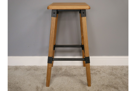 Pair of Elm Wood & Metal Bar Breakfast Stools 72 High x 41 cm Wide x 41 cm Deep
