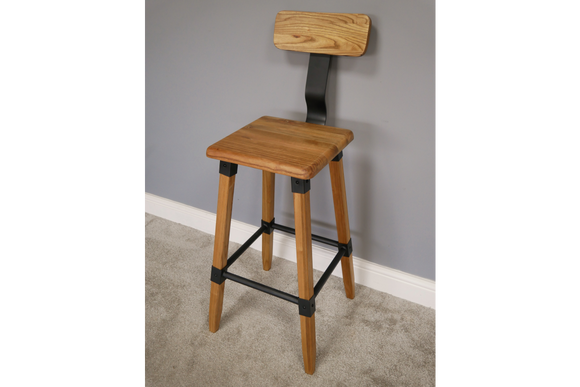 Pair of Elm Wood & Metal Bar Breakfast Stools 104 High x 41 cm Wide x 45 cm Deep