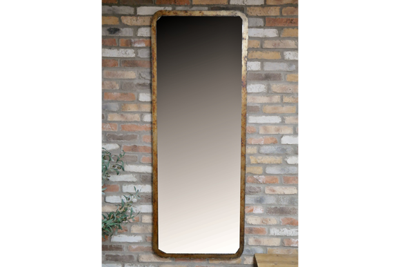 Burnt Gold Metal Frame Wall Mirror 180 x 68 cm
