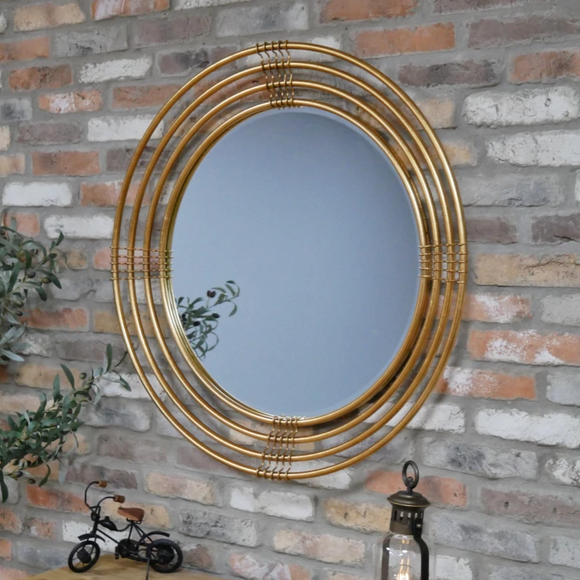 Gold Metal Frame Round Wall Mirror 91 cm Diameter