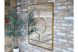 Gold Metal Frame Deco Window Wall Mirror 120 x 90 cm NEW