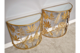Set of two Nesting Semi Circle Side Tables Tropical Gold Leaf Metal Mirror Tops