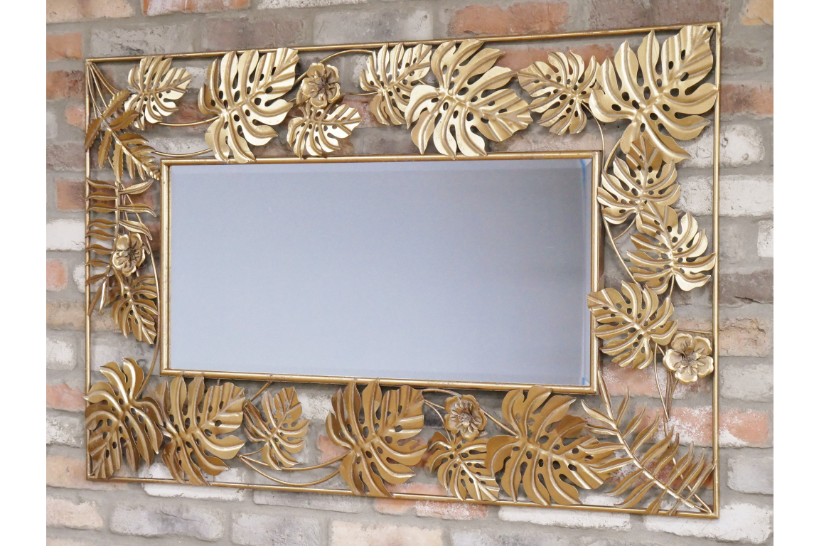 Gold Tropical Leaf Metal Frame Wall Mirror 130 X 80 Cm New Glebe Decorative Home