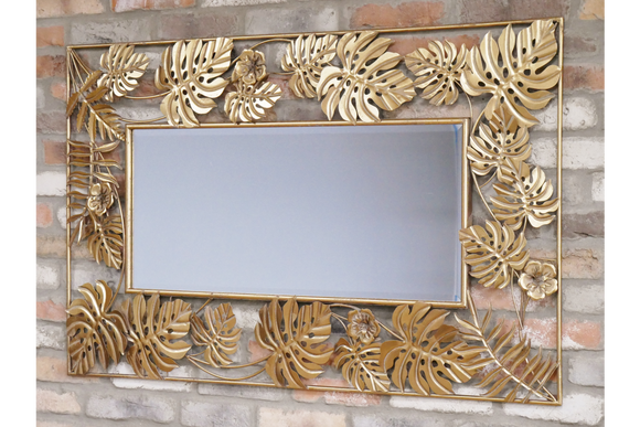 Gold Tropical Leaf Metal Frame Wall Mirror 130 x 80 cm NEW