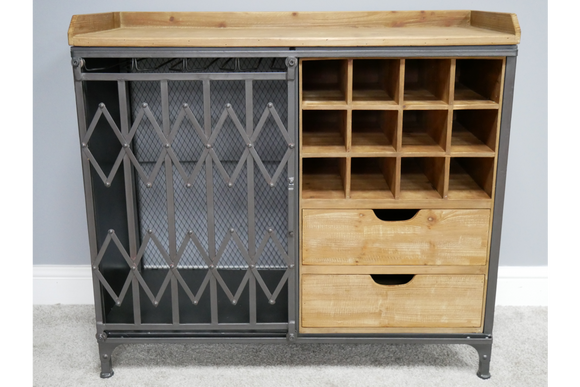 Wood & Metal Bar Unit Drinks Wine Cabinet Industrial 82 x 90 x 40 cm