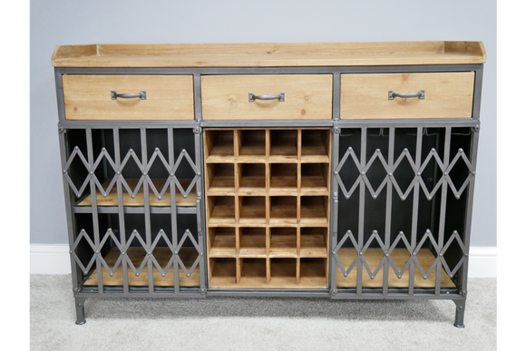 Wood & Metal Bar Unit Drinks Wine Cabinet Industrial 85 x 115 x 38 cm
