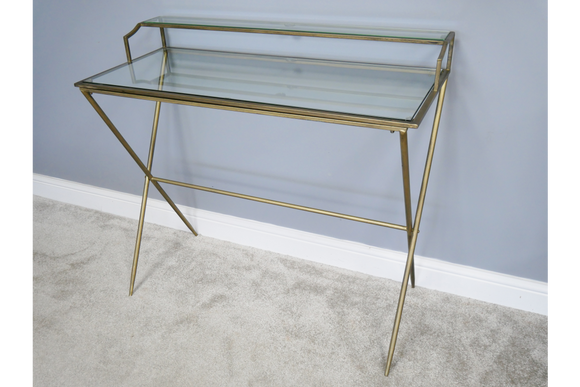 Gold Metal & Glass Two Tier Desk
