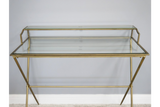 Gold Metal & Glass Two Tier Desk 95 cm Wide
