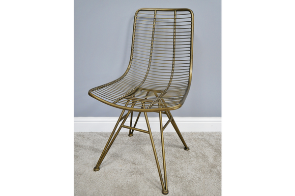 2 x Metal Wire Style Chairs Old Gold Industrial Style