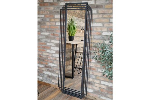 Black Metal Frame Wall Mirror Art Deco Style 183  x 66 cm x 6 cm Deep