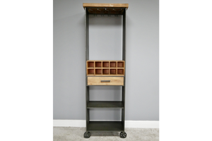 Industrial Style Metal & Wood Bar Unit Drinks Wine Cabinet 183 x 58 x 38 cm