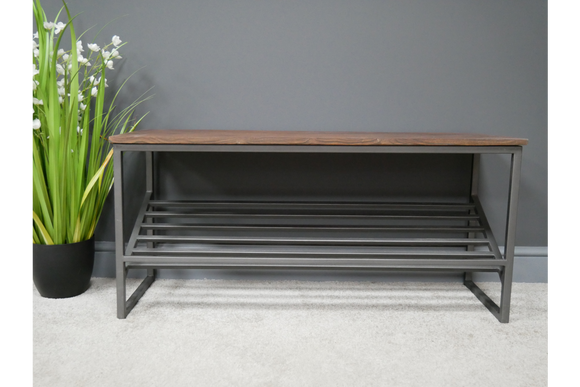 Acacia Wood & Iron Hall Shoe Storage Bench Scandi