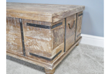 Limed Mango Wood Trunk Coffee Side Occasional Storage Table 133 cm Wide