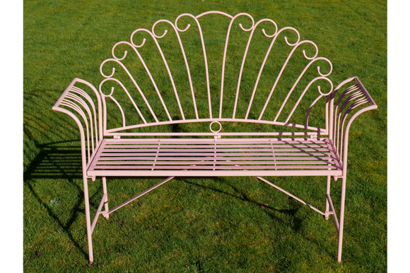 Pink Metal Garden Bench 125 cm Wide