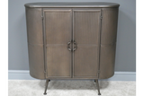 Retro Industrial Style Ribbed Metal Curve Cabinet Cupboard
