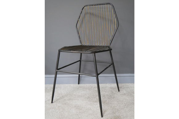 Pair of Black and Gold Hexagon Metal Wire Chairs