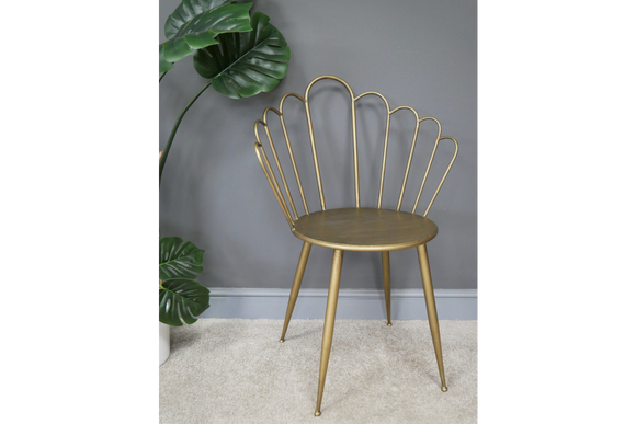 Pair of Antiqued Gold Metal Vintage Style Petal Chairs - Back in stock end of October