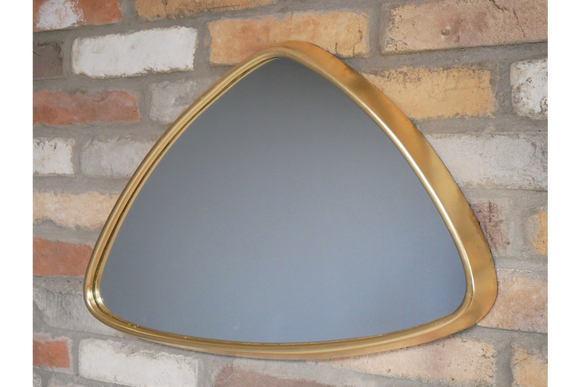 Triangular Gold Frame Wall Mirror