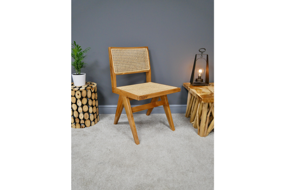 Wood & Rattan Retro Vintage Style Chair 81 x 46 x 52 cm - Due this month