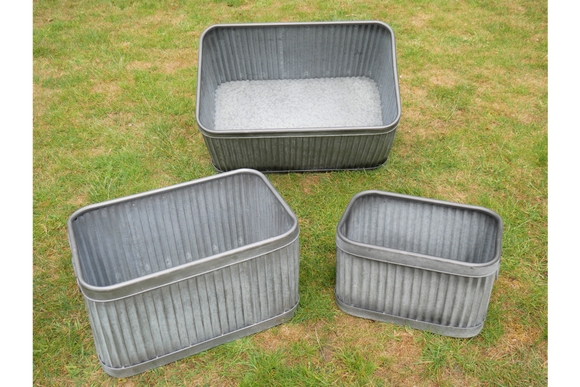 Set of Three Galvanised Ribbed Rectangular Planters