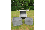 Set of Three Galvanised Ribbed Square Planters