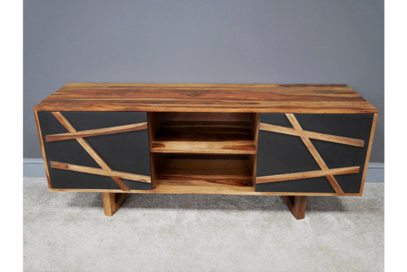 Sustainable Sheesha Wood & Media Unit TV Stand Mid Century Style