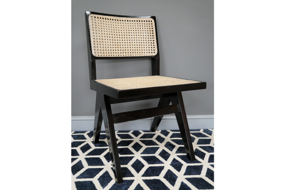 Black Wood & Rattan Retro Vintage Style Chair 81 x 46 x 52 cm - Due this month