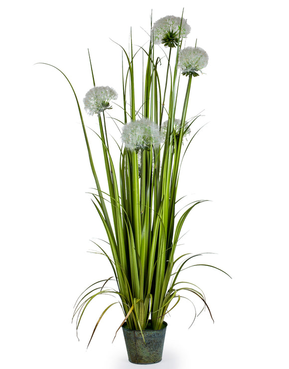 Artificial Plant Grass in Galvanised Pot Faux Botanical 155 cm Tall