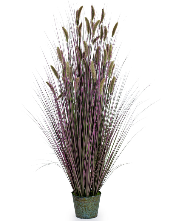 Artificial Ornamental Grass in Galvanised Pot Faux Botanical 145 cm Tall