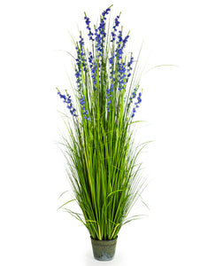 Artificial Ornamental Grass in Galvanised Pot Faux Botanical 185 cm Tall