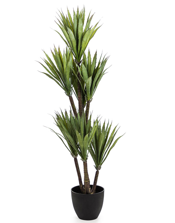 Large Artificial Plant Yucca Tree in Black Pot Faux Botanical 110 cm Tall