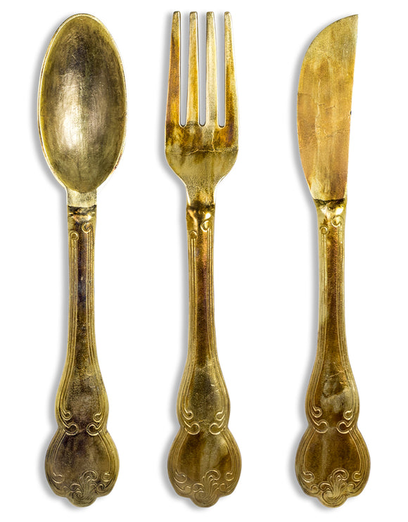 Large Antiqued Gold Aluminium Knife Fork & Spoon Wall Hanging Cutlery 102 cm