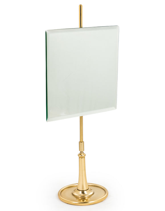 Square Vanity Table Mirror on Brass Stand Adjustable Height & Tilt 56 cm High