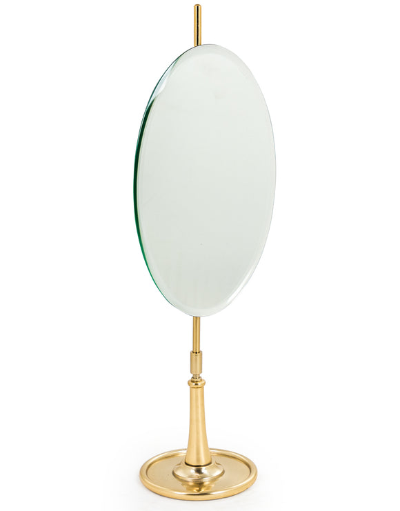 Oval Vanity Table Mirror on Brass Stand Adjustable Height & Tilt 60 cm High