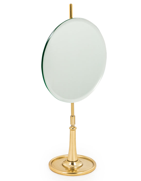 Round Vanity Table Mirror on Brass Stand Adjustable Height & Tilt 52 cm High