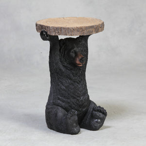 Side / Bedside Table Black Bear Holding A Trunk Slice 52 cm High