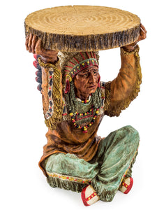 Side / Bedside Table Native American Holding A Trunk Slice 52 cm High