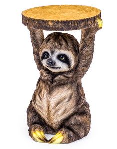 Side / Bedside Table Sloth Holding A Trunk Slice 52 cm High