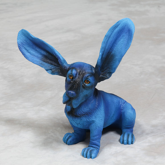 Electric Blue Surprised Basset Hound Dog Ornament Statue Decorative Big Ears 37 cm High - Due February 2021