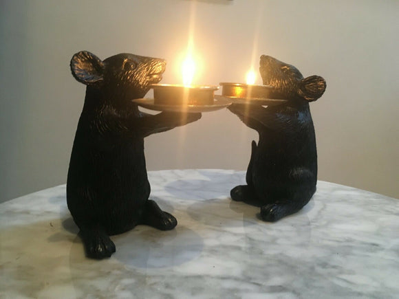 Large Pair of Black Mouse Mice Tea Light Holders 14 cm High