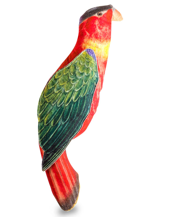Extra Large Red & Green Tropical Parrot Linen Cushion 75 cm Long