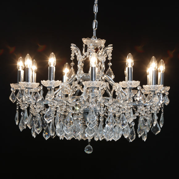 Gorgeous Shallow Twelve Arm Chrome Framed Crystal Glass Chandelier