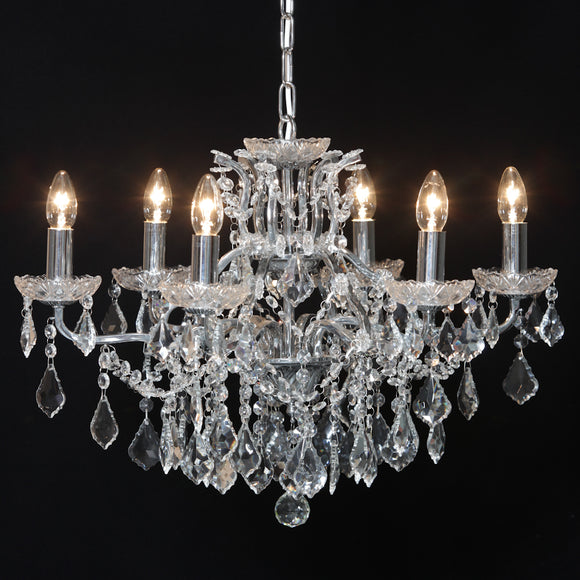 Gorgeous Shallow Six Arm Chrome Framed Crystal Glass Chandelier