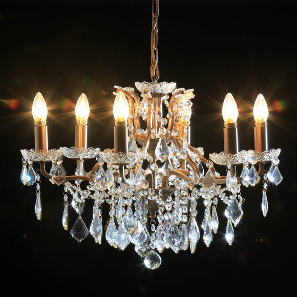 Six Arm Brushed Gold Crystal Glass Chandelier 64 cm Diameter x 48 cm High