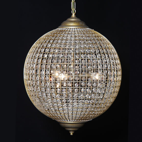 Large Brushed Gold Globe Orb Glass Crystal Chandelier 50 cm Diameter